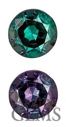 Unique Fine Alexandrites in Matched Pair, Round Cut, Dramatic Color Change, Clean, 1.01 carats total