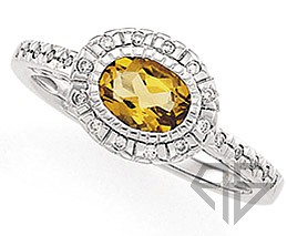 Dainty and Pretty Yellow Citrine Ring in White Gold with Diamond Accents for SALE
