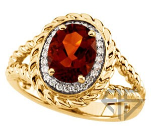 Exquisite Intriguing Port Colored Madeira Citrine & Diamond Ring in 14 kt Yellow Gold