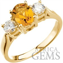 Attractive Genuine Golden Citrine & Large Diamond Ring set in 14 karat Yellow Gold