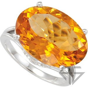 Genuine GEM Grade Massive Citrine Set in Sterling Silver Ring - Very Bright and Unique