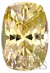 Vivid, Unheated, Yellow Sapphire Genuine Gem for SALE, Cushion Cut, 3.43 carats