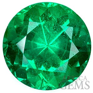 Vibrant Special Quality Emerald Gem, Excellent Clarity and Life, Round Cut, 0.91 carats