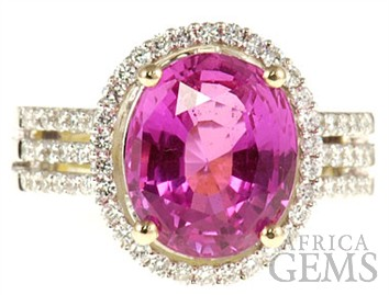 Stunning 6.17 carat Pink Sapphire and Diamond gemstone ring in 2 tone 18kt gold -- SOLD
