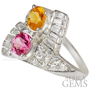 Gorgeous Pink Sapphire & Yellow Sapphire set in Platinum & Diamond Gemstone Ring - SOLD