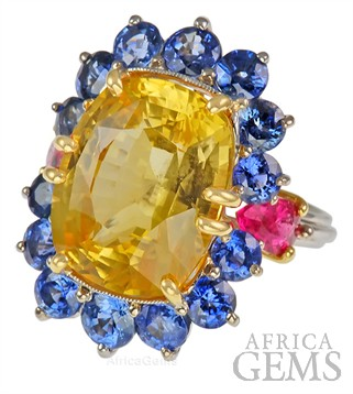 Unique Handmade Yellow Sapphire Ring set with Blue Sapphire & Pink Tourmalines in Platinum & 18 kt Gold - SOLD