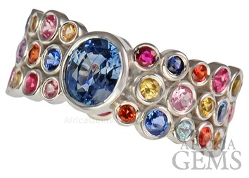 Designer Bezel Style Multi Colored Sapphires Gemstone Ring for SALE - SOLD