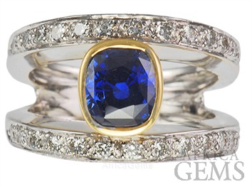 Modern Classic Electric Blue Bezel Set Sapphire & Channel Set Diamond Ring - SOLD