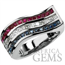 Very Patriotic Sapphire, Ruby and Diamond Flag Stripe Rings in 14k White Gold for SALE