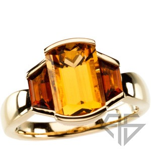 Glamorous Bezel Set Gemstone Ring - Stunning Natural Citrine Flanked By Trapezoid Madeira Citrine Gold Ring