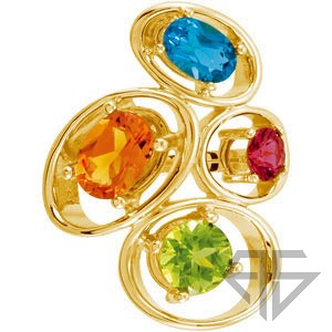 Fun and Colorful Gemstone Ring in 14 Karat Yellow Gold With Topaz, Peridot, Citrine and Garnet