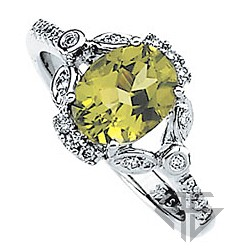 Detailed Attractive Genuine Oval GEM Grade Peridot and Diamond Ring in 14 karat White Gold