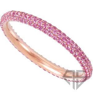 Sparkling Pink Sapphire Eternity Band Set in 14 karat Rose Gold
