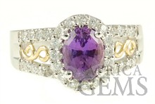 Amazing Purple Sapphire & Diamond ring in 2 tone 18kt gold - Intricate Gold Detailing - SOLD