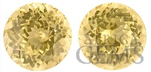 Bright and Well Matched Pair of Yellow Sapphire Natural Gemstones, Round Cut, 3.15 carats