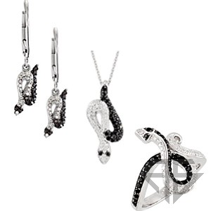 Striking Spinel and Diamond Snake Ring, Earrings and Pendant Trio. Save 10% on Entire Set.