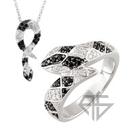 Sterling Silver Snake Spinel and Diamond Matching Ring and Pendant. Save 10% on Entire Set.