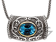 Remarkable Swiss Blue Topaz Necklace set in Sterling Silver and 14 karat Yellow Gold - Free Chain