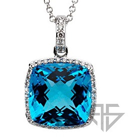 Sparkling Square Cushion Swiss Blue Topaz & Diamond Necklace set in 14 karat White Gold - Free Chain