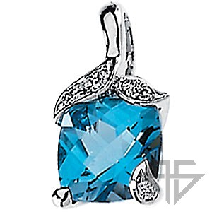 Stylish Swiss Blue Topaz & Diamond Pendant set in 14 karat White Gold - Leafy Inlaid Diamond Accents - Free Chain