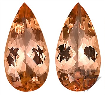 Beautiful Peachy Pink Imperial Brazilian Topaz Genuine Gemstones, Well Matched- Perfect for Earrings!   Pear Shape, 4.32 carats