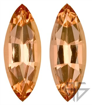 Pretty and Vibrant Pair of Peach Imperial Topaz Natural Unheated Gemstones for SALE,  Marquise Cut, 3.05 carats